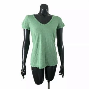 Splendid Green Striped V Neck Size Medium